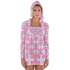 Puzzle1 White Marble & Pink Watercolor Long Sleeve Hooded T Shirt
