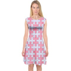 Puzzle1 White Marble & Pink Watercolor Capsleeve Midi Dress