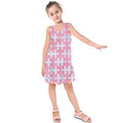 Puzzle1 White Marble & Pink Watercolor Kids  Sleeveless Dress