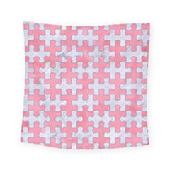 Puzzle1 White Marble & Pink Watercolor Square Tapestry (small)