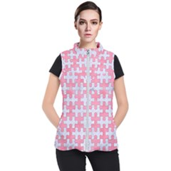 Puzzle1 White Marble & Pink Watercolor Women s Puffer Vest