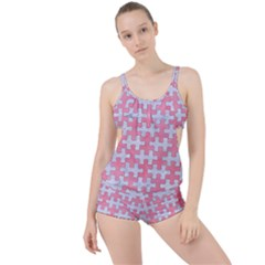 Puzzle1 White Marble & Pink Watercolor Boyleg Tankini Set