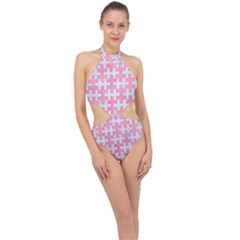 Puzzle1 White Marble & Pink Watercolor Halter Side Cut Swimsuit