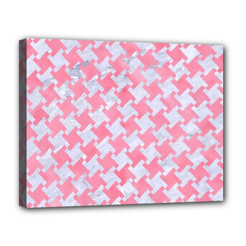 Houndstooth2 White Marble & Pink Watercolor Canvas 14  X 11