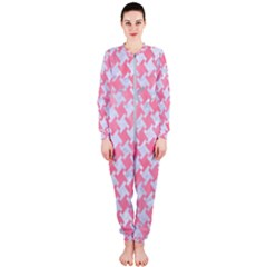 Houndstooth2 White Marble & Pink Watercolor Onepiece Jumpsuit (ladies)