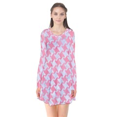 Houndstooth2 White Marble & Pink Watercolor Long Sleeve V Neck Flare Dress