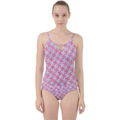 Houndstooth2 White Marble & Pink Watercolor Cut Out Top Tankini Set