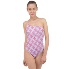 Houndstooth2 White Marble & Pink Watercolor Classic One Shoulder Swimsuit