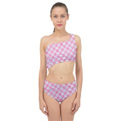 Houndstooth2 White Marble & Pink Watercolor Spliced Up Two Piece Swimsuit