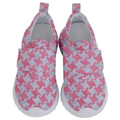 Houndstooth2 White Marble & Pink Watercolor Velcro Strap Shoes