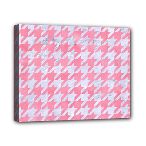 Houndstooth1 White Marble & Pink Watercolor Canvas 10  X 8