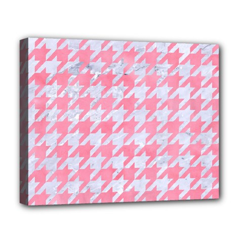 Houndstooth1 White Marble & Pink Watercolor Deluxe Canvas 20  X 16   by trendistuff