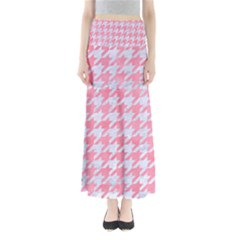 Houndstooth1 White Marble & Pink Watercolor Full Length Maxi Skirt