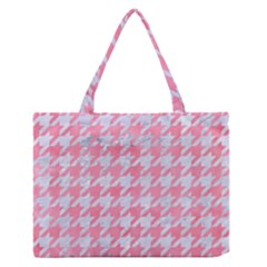 Houndstooth1 White Marble & Pink Watercolor Zipper Medium Tote Bag