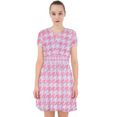 Houndstooth1 White Marble & Pink Watercolor Adorable In Chiffon Dress