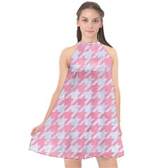 Houndstooth1 White Marble & Pink Watercolor Halter Neckline Chiffon Dress