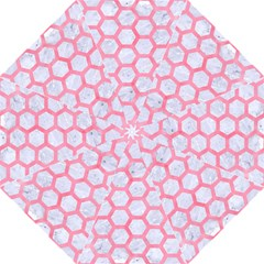 Hexagon2 White Marble & Pink Watercolor (r) Folding Umbrellas