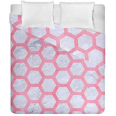Hexagon2 White Marble & Pink Watercolor (r) Duvet Cover Double Side (california King Size)
