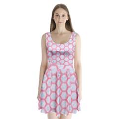 Hexagon2 White Marble & Pink Watercolor (r) Split Back Mini Dress