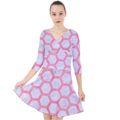 Hexagon2 White Marble & Pink Watercolor (r) Quarter Sleeve Front Wrap Dress