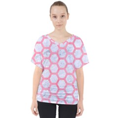 Hexagon2 White Marble & Pink Watercolor (r) V Neck Dolman Drape Top