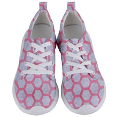 Hexagon2 White Marble & Pink Watercolor (r) Women s Lightweight Sports Shoes