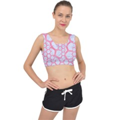 Hexagon2 White Marble & Pink Watercolor (r) V Back Sports Bra
