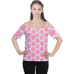 Hexagon2 White Marble & Pink Watercolor Cutout Shoulder Tee
