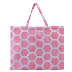 Hexagon2 White Marble & Pink Watercolor Zipper Large Tote Bag