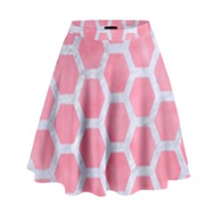 Hexagon2 White Marble & Pink Watercolor High Waist Skirt