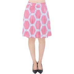 Hexagon2 White Marble & Pink Watercolor Velvet High Waist Skirt