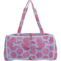 Hexagon2 White Marble & Pink Watercolor Multi Function Bag