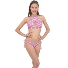 Hexagon2 White Marble & Pink Watercolor Cross Front Halter Bikini Set