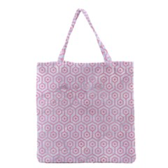 Hexagon1 White Marble & Pink Watercolor (r) Grocery Tote Bag