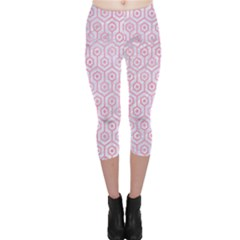 Hexagon1 White Marble & Pink Watercolor (r) Capri Leggings