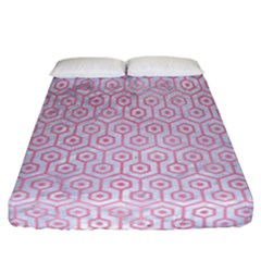 Hexagon1 White Marble & Pink Watercolor (r) Fitted Sheet (california King Size)
