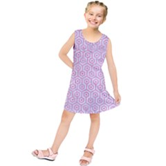 Hexagon1 White Marble & Pink Watercolor (r) Kids  Tunic Dress