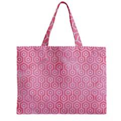 Hexagon1 White Marble & Pink Watercolor Zipper Mini Tote Bag
