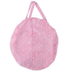 Hexagon1 White Marble & Pink Watercolor Giant Round Zipper Tote