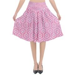 Hexagon1 White Marble & Pink Watercolor Flared Midi Skirt
