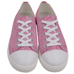 Hexagon1 White Marble & Pink Watercolor Women s Low Top Canvas Sneakers