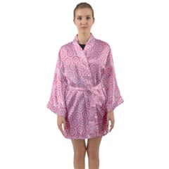 Hexagon1 White Marble & Pink Watercolor Long Sleeve Kimono Robe