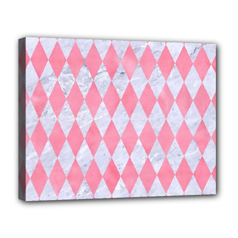 Diamond1 White Marble & Pink Watercolor Canvas 14  X 11