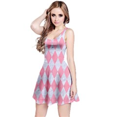 Diamond1 White Marble & Pink Watercolor Reversible Sleeveless Dress