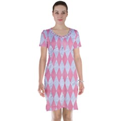 Diamond1 White Marble & Pink Watercolor Short Sleeve Nightdress