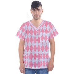 Diamond1 White Marble & Pink Watercolor Men s V Neck Scrub Top