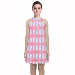 Diamond1 White Marble & Pink Watercolor Velvet Halter Neckline Dress