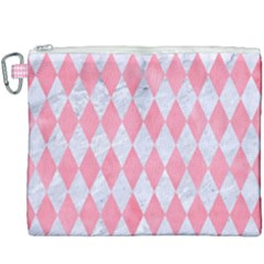 Diamond1 White Marble & Pink Watercolor Canvas Cosmetic Bag (xxxl)