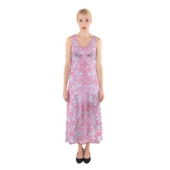 Damask2 White Marble & Pink Watercolor (r) Sleeveless Maxi Dress