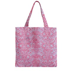 Damask2 White Marble & Pink Watercolor (r) Zipper Grocery Tote Bag
